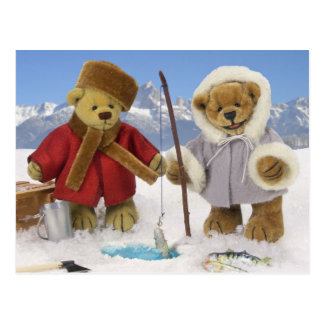 Ice Fishing Dinky Bears Postcard