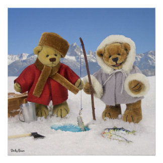 Ice Fishing Dinky Bears Poster