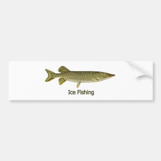 Ice Fishing Northern Pike Logo Car Bumper Sticker