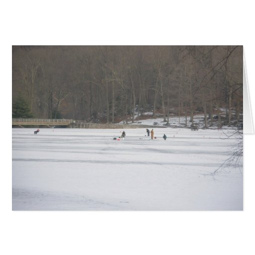 Ice fishing on green lane pa reservoir card zazzle for Pa ice fishing
