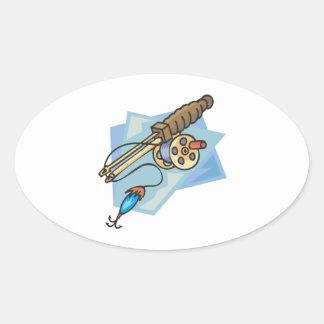 Ice Fishing Pole Oval Sticker