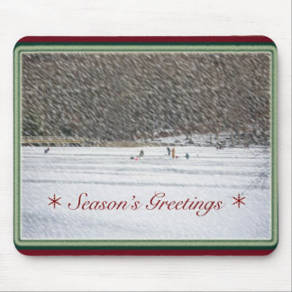 Ice Fishing Season's Greetings Mousepad