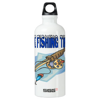 Ice Fishing Time Aluminum Water Bottle