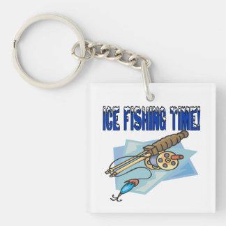 Ice Fishing Time Single-Sided Square Acrylic Keychain