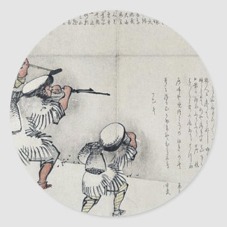 Ice fishing trip by Taki, Katei Ukiyoe Classic Round Sticker