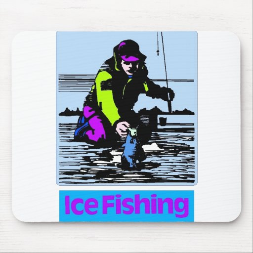 Ice Fishing w fish Mouse Pads