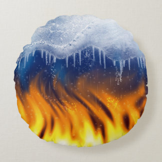 Ice & Flame Round Pillow