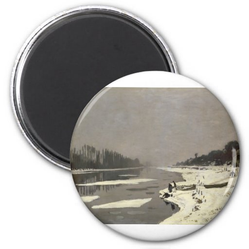 Ice Floes on the Seine at Bougival (1867-1868) 2 Inch Round Magnet