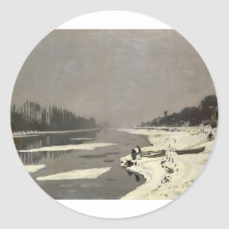 Ice Floes on the Seine at Bougival (1867-1868) Round Stickers