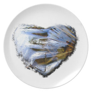 Ice Heart; No Text Melamine Plate