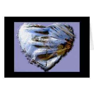 Ice Heart Purple Background Card