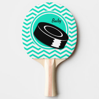Ice Hockey; Aqua Green Chevron Ping Pong Paddle