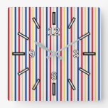 [ Thumbnail: Ice Hockey Arena Rink-Inspired Stripes Square Wall Clock ]