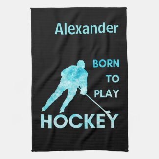 Ice hockey blade absorbent towel born to play blue