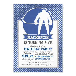 Ice Hockey, Blue & White Stripes, Sports 5x7 Paper Invitation Card