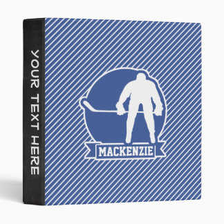 Ice Hockey, Blue & White Stripes, Sports Binder