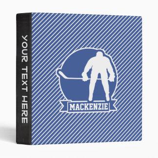 Ice Hockey, Blue & White Stripes, Sports 3 Ring Binder
