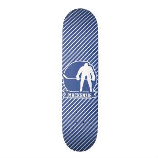 Ice Hockey, Blue & White Stripes, Sports Skateboard