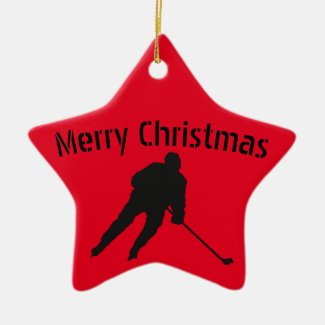 Ice hockey Christmas ornament - player red black