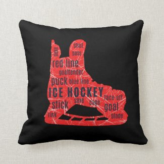 Ice hockey fan cushion - red skate with words
