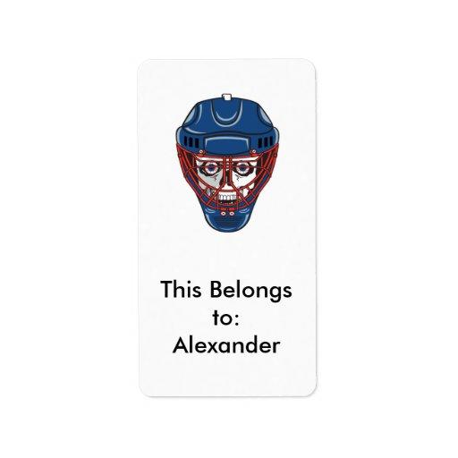 ice hockey goalie mask skull design label