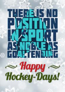 Ice Hockey Goalie Quote Christmas Card