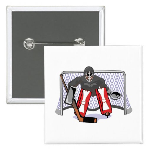 ice hockey goalie realistic vector illustration 2 inch square button