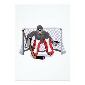 ice hockey goalie realistic vector illustration card