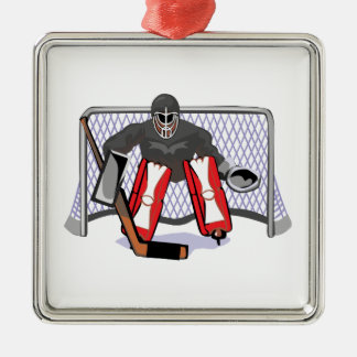 ice hockey goalie realistic vector illustration metal ornament