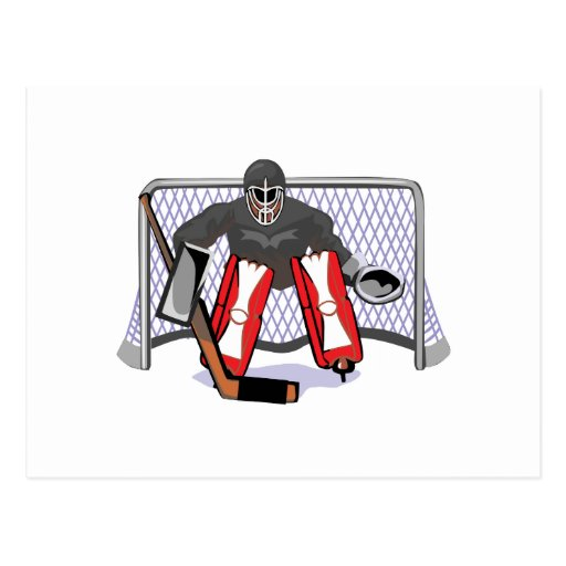 ice hockey goalie realistic vector illustration postcard