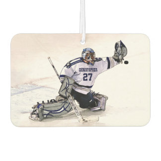 Ice Hockey Goalkeeper With Your Name Drawing Car Air Freshener