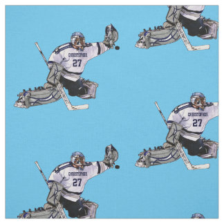 Ice Hockey Goalkeeper With Your Name Drawing Fabric