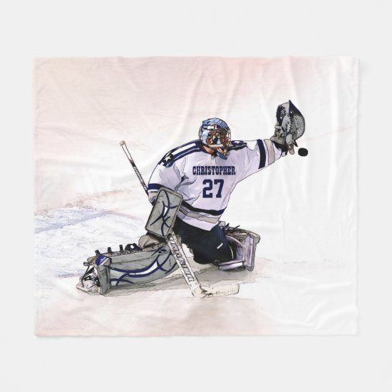 Ice Hockey Goalkeeper With Your Name Drawing Fleece Blanket