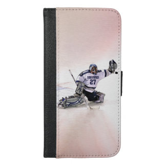 Ice Hockey Goalkeeper With Your Name Drawing iPhone 6/6s Plus Wallet Case