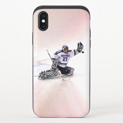 Ice Hockey Goalkeeper With Your Name Drawing iPhone X Slider Case