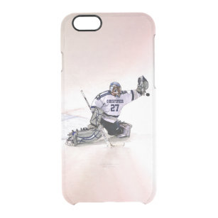 buy online b8405 d746d Ice Hockey Goalkeeper With Your Name Drawing Clear iPhone 6/6S Case