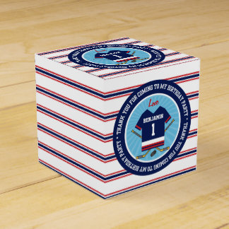 Ice Hockey Jersey 1st Birthday Thank you Favor Box