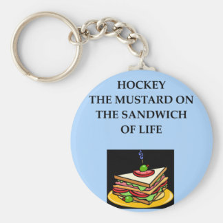 ice hockey basic round button keychain