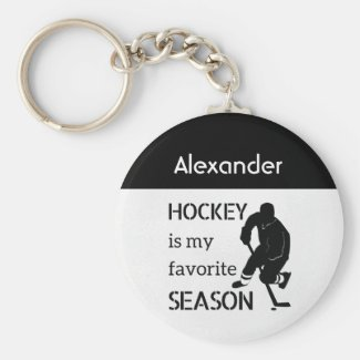 Ice Hockey keychain favorite season black white