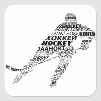 Ice Hockey Languages Text Art Square Sticker