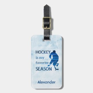 Ice Hockey luggage tag favorite season dark blue