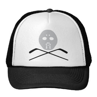 ice hockey mask and stick trucker hat