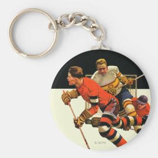 Ice Hockey Match Basic Round Button Keychain
