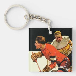 Ice Hockey Match Double-Sided Square Acrylic Keychain