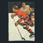 "Ice Hockey Match Kitchen Towel<br><div class=""desc"">Artist: Maurice Bower 