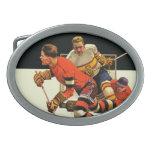 Ice Hockey Match Oval Belt Buckle