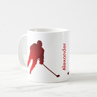Ice Hockey mug player silhouette red