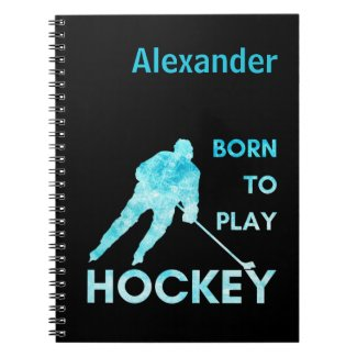 Ice hockey notebook Born to play frozen blue