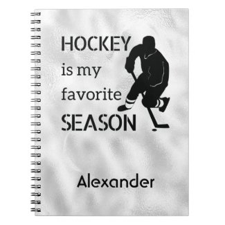 Ice hockey notebook Favorite season black