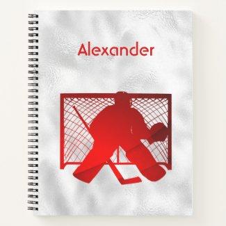 Ice hockey notebook goalie red